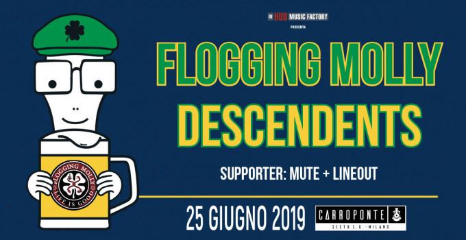 FLOGGING MOLLY + DESCENDENTS     ANNUNCIATI I SUPPORTI DELL'UNICA DATA ITALIANA