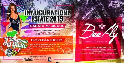 Beefly - Loano (SV), un'estate al top: 29/6 inaugurazione con Fabry Violino (Dj), Marcello Dolcevita - 30/6 Domenica Latina...