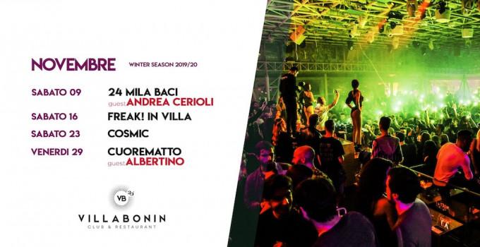Villa Bonin: 9/11 Free Villa 24Mila Baci con Andrea Cerioli; 16/11 Freak! In Villa; 23/11 Cosmic | Beautiful Confusion #3; 29/11