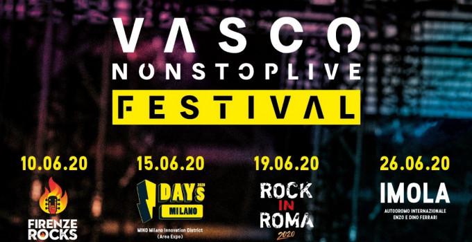 VASCO NON STOP LIVE FESTIVAL: 4 concerti nei 4 festival rock più importanti dell'estate 2020