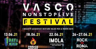 VASCO NON STOP LIVE FESTIVAL ECCO LE NUOVE DATE 2021  Stesse città, stessi Festival,  stesso mese Giugno 2021